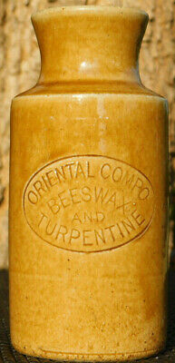 Antique Stoneware Wide Mouth Oriental Compo Beeswax And Turpentine Old Bottle