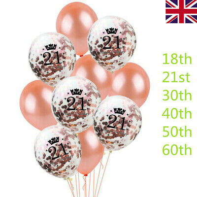 10 Rose Gold Latex Sequins Filled Happy Birthday Balloons 18th/21/30/40/50/60th