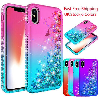 Bling Sparkle Diamond Case Glitter Liquid Cover For Apple iPhone X XR XS Max
