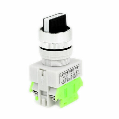 Panel Mounted 3 Position Selector Self-Locking Pushbutton Switch 660VAC 10A 2NO