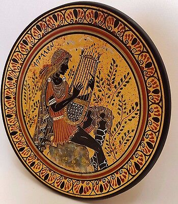 Greek God Apollo Rare Ancient Greek Art Pottery Plate
