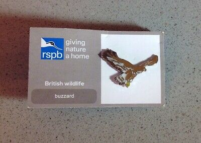 RSPB Charity Enamel Pin Badge Flying Buzzard On Give Nature A Home Card