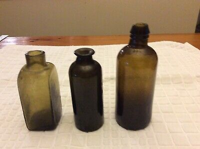 American glass medicines 3 dug bottles great collection of these types.