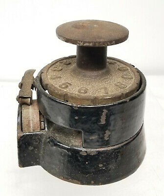 Antique Mechanical Time Punch CLock Stamp Wesley Mfg Co New York Cast Iron