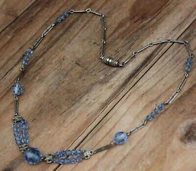 Vintage Art Deco Necklace Beads Blue Glass Jewellery Antique 1920s Jewelry 20s