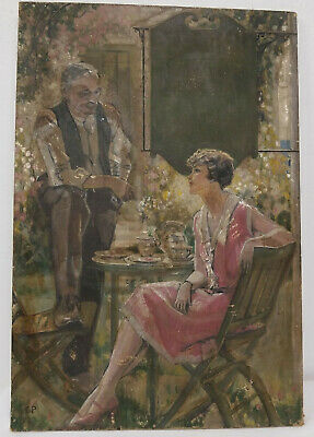 Antique Fine Oil on Canvas Painting Magazine Illustration Lady Garden Signed As