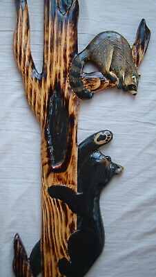 Chainsaw Wood Carving Black Bear and Raccoon Cabin Decor Wall Art