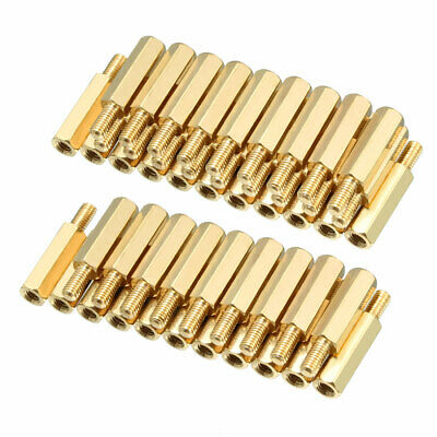 50pcs M3 15+6mm Female Male Thread Brass Hex Standoff Spacer Screws PCB Pillar