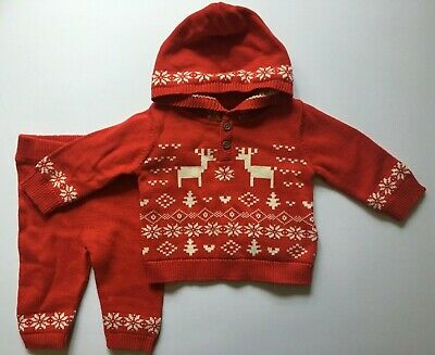 Baby Boys/Girls Red Christmas Marks & Spencer Knitted Outfit  0-3 & 3-6 Months