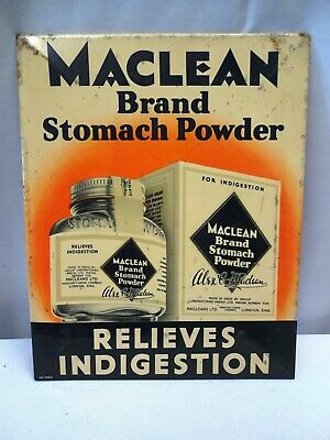 """Vintage Sign Tin Advertising Maclean Brand Stomach Powder Relieves Indigestion """""""