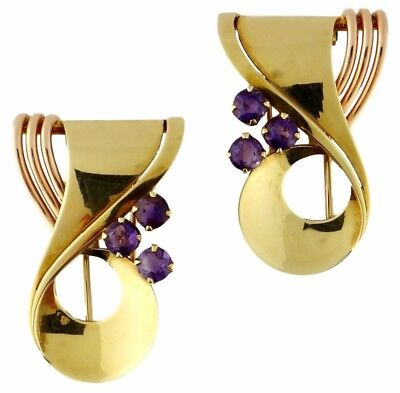 Retro Vintage Tiffany & Co 14K Yellow & Rose & Gold Amethyst Double Clips Brooch
