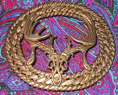 Vintage Skull and Antlers 3D Cutout Brass Belt Buckle