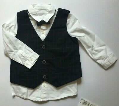 12-18 Months Baby Boys M&S Navy Mix Shirt & Waistcoat w/Bow Tie RRP £28