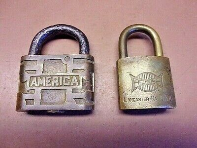 Two Vintage Brass Padlocks REESE Lancaster, PA & AMERICA 1901 No Keys Neat Pair!