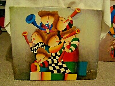 Medium 20 X 24 J Roybal Oil Painting Sextet Musicians Ready for Frame