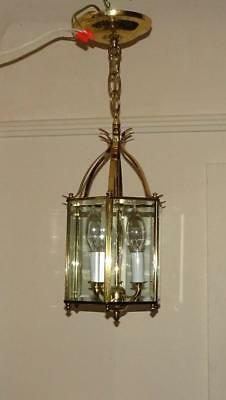Vtg Lantern Style Hanging Light Fixture Foyer Hall Chandelier Light Solid Brass