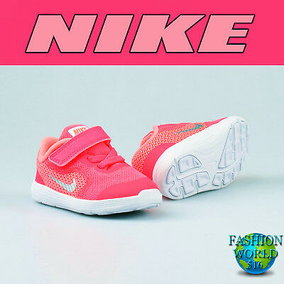 Nike Toddler Size 10C Revolution 3 Shoes Racer Pink White Lava 819418 601 TDV