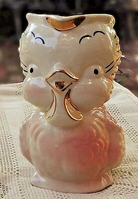 VINTAGE MID-20th CENTURY HAND PAINTED PORCELAIN BIRD PITCHER W/ 22K GOLD TRIM
