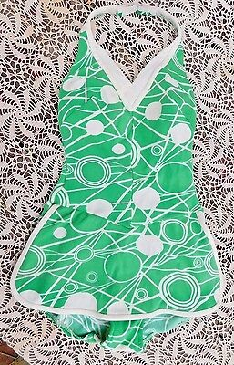 VINTAGE 1960's SKIRTED GREEN WHITE SWIMMING BATHING SUIT SIZE SMALL SWIMSUIT