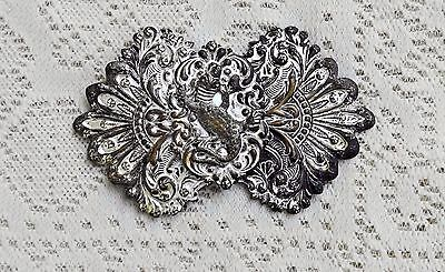 Antique Victorian Silver Repousse Buckle W Facets And An Alligator