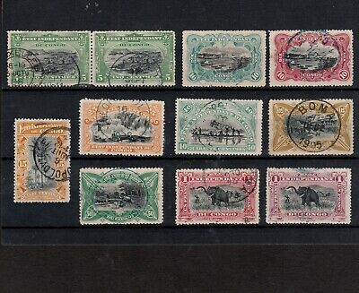 Belgian Congo 1894 Selected Stamps Incl. Pair With Basoko & Brussels Postmarks