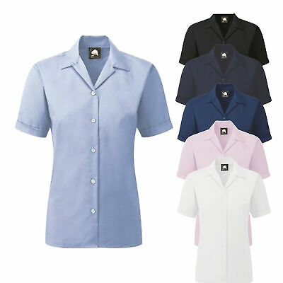 Ladies Womens Short Sleeve Oxford Work Office Formal Shirt Blouse Poly Cotton