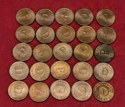P & D US TREASURY *BRASS* MINT TOKEN SET Of 25 All In Excellent Condition