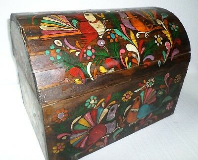 Mexican Folk Art 17 Wood Dowry Chest Baul Box Colonial Furniture Painted Birds