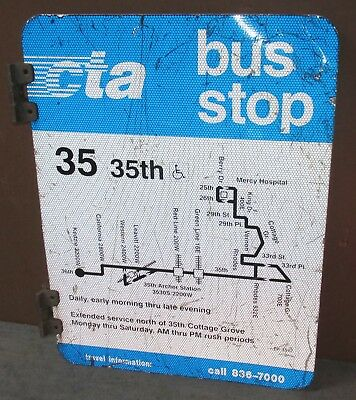 AUTHENTIC CITY OF Chicago CTA Bus Stop Route 2 Sided Road