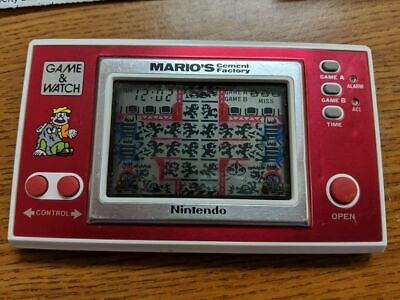 Nintendo MARIO'S Cement Factory Electronic LCD Wide Screen Game & Watch NICE NR!