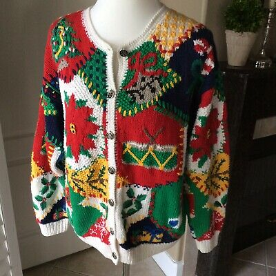 Northern Isles Cardigan Sweater Women Large Christmas Hand Knit Vintage NOTE TLC