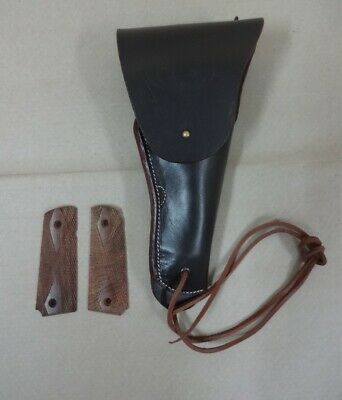 US WW2 M1916 Colt 1911 .45 Holster Dark Brown Leather w/M1911 Grips - Repro HE7