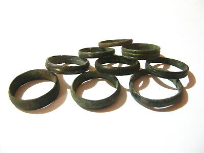 Lot of 9 Ancient Celtic - Roman - Medieval Bronze rings