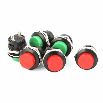 6 Pcs R13-507 2P SPST Momentary Red Green Push Button Switch AC 125V/6A 250V/3A
