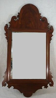 """American 18thc. Chippendale Mirror/carved mahogany frame. c. 1780's. 34 x18"""" ½""""."""