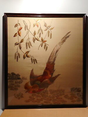Painting tapestry fabric woven on silk chinese bird branching China