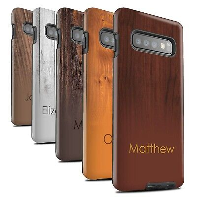 Personalised Wood Grain Effect Matte Tough Case for Samsung Galaxy S10 Plus