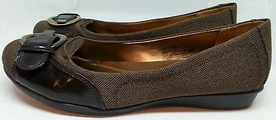 4134abe28657 Natural Soul by Naturalizer Chevron Brown Slip-on Flats Ballerina Shoes  Size 7.5