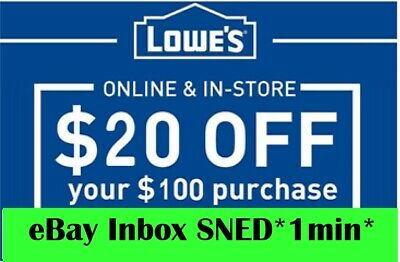 THREE 3x Lowes $20 OFF $100Coupons-Instore and Online Very Fast--Delivery