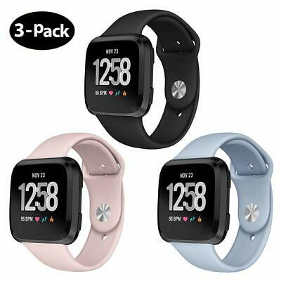 For Fitbit Versa Band Soft Silicone Sport Wrist Strap Replacement 3 Pack Women