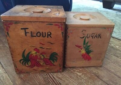 Vintage Tongue And Groove Wooden Canister Duo