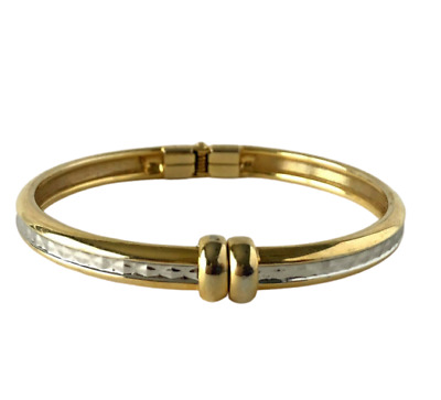 """Two Tone Metal Clamper Hinged Bracelet Texured Inlay Faceted Quality Bangle ~7"""""""