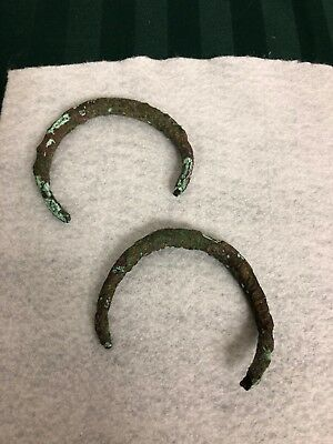 2 Antique Bronze Celtic Torque Bracelets From Gaul Around 3rd To 4th Centuries