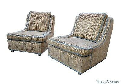Pair Vintage Mid Century Blue Floral Strip Velvet Accent Chairs French Country