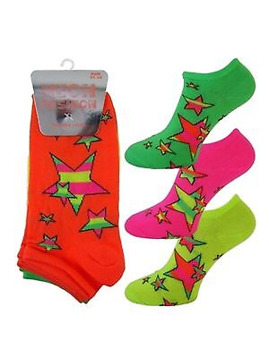 3 Girls Ladies Kids Neon Fashion Trainer Liner Socks / Stars / UK 4-6