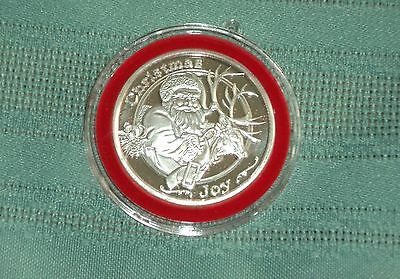 2014 One Troy Ounce .999 Fine Silver Apmex Christmas Round With Red Cloth Pouch