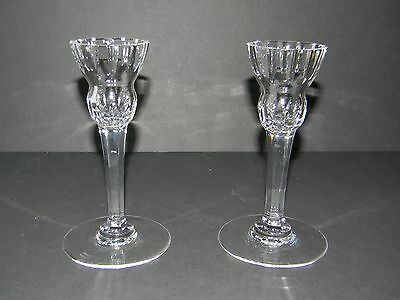Vintage Set Of Marquis By Waterford Palladio Cut Fine Crystal Candle Holders