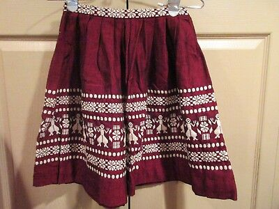 Vintage Youth Girls MEXICAN SKIRT SIZE 10 BURGUNDY FULL SKIRT BY LANZA MEX *CUTE