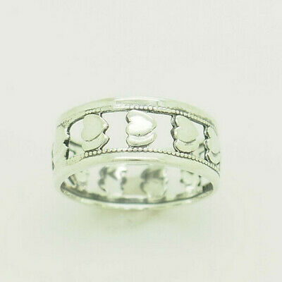 Vintage Solid Sterling Silver/925 8mm Wide Filigree Double Hearts Band Ring 7