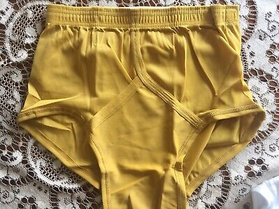 2951431a3034 Vtg SZ 32 Men Thorobred Nylon Jockey Underwear SHEER Mustard Yellow Briefs  NEW